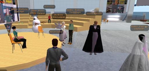 Marconi Sorbet conversa com avatares no Second Life